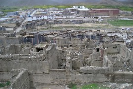 ruins of north monastery seen looking down from Mon ravine