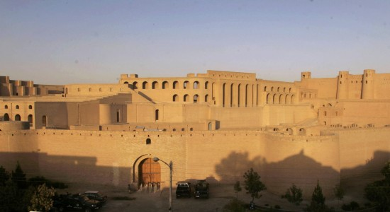 The Qala Iktyaruddin Citadel is seen in Herat, Afghanistan, Monday, Oct. 17, 2011. An ancient citadel in Herat that dates back to Alexander the Great has been restored, a bright sign of progress in a country destroyed by war. The citadel, a fortress that resembles a sand castle overlooking the city, and a new museum of artifacts at the site was completed by hundreds of local craftsmen and funding and support from the U.S. and German governments and the Aga Khan Trust for Culture. (AP Photo/Houshang Hashimi)